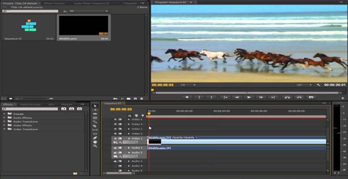 تصویری از محیط پریمیر برای برش فیلم