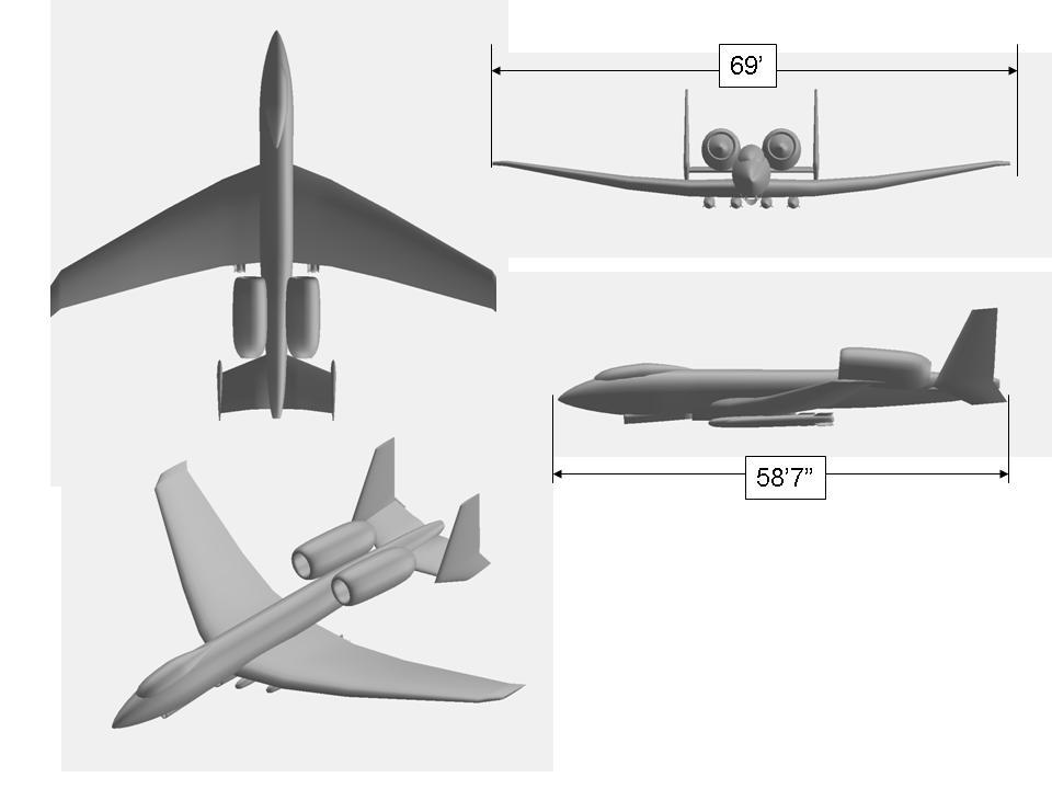 نماهای مختلف یک هواپیمای تازه طراحی شده