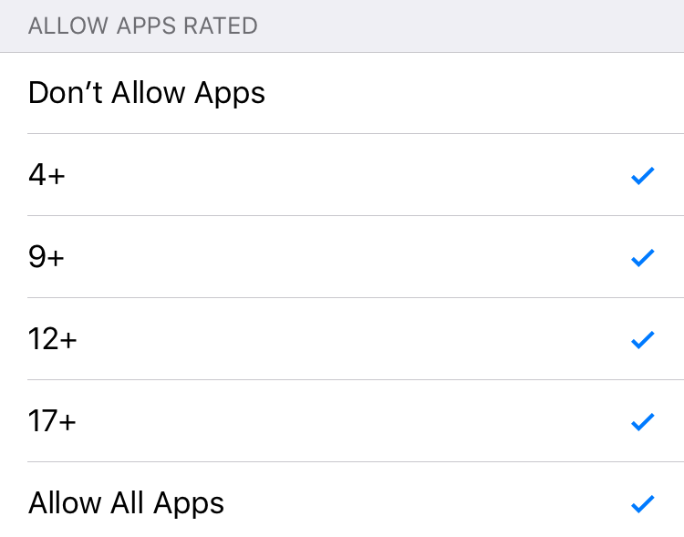 allow apps rated
