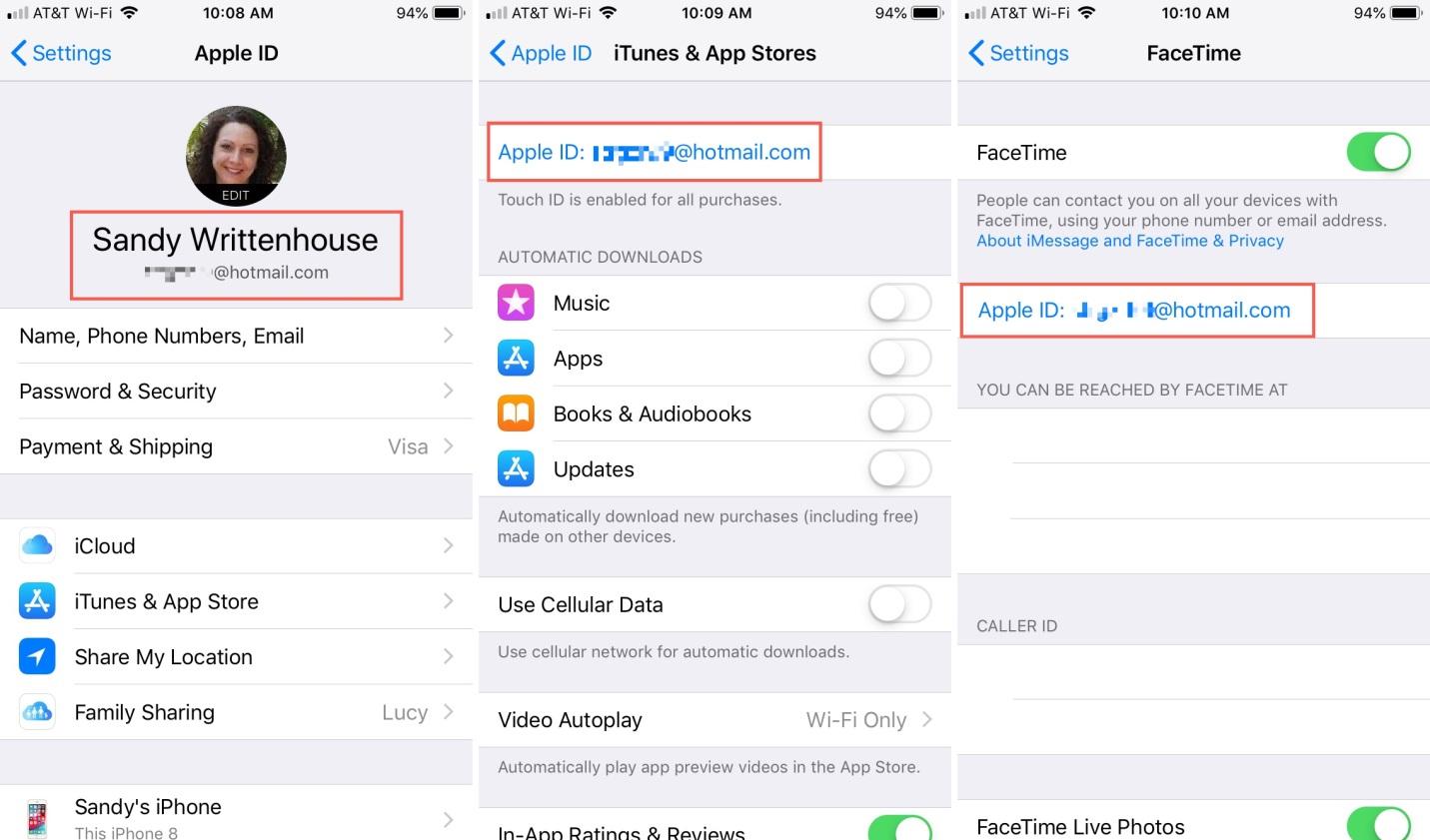Apple ID on iPhone iCloud iTunes FaceTime