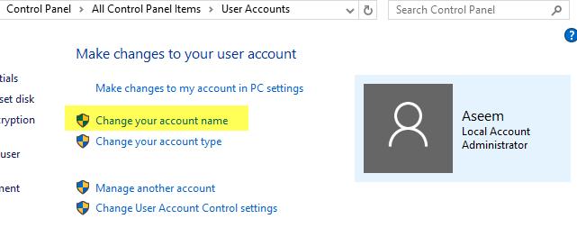 change account name win 10