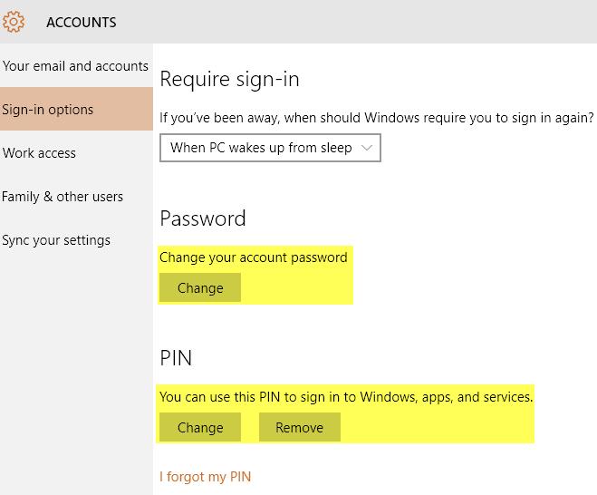 change password pin