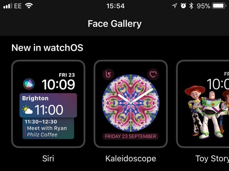 Choose a new watch face