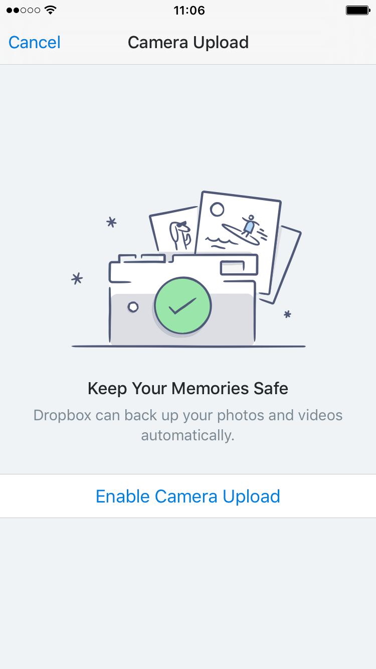 dropbox iPhone camera photo backup