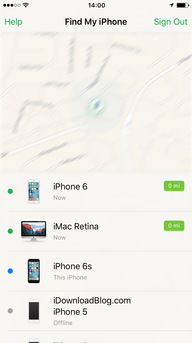 Find My iPhone map devices