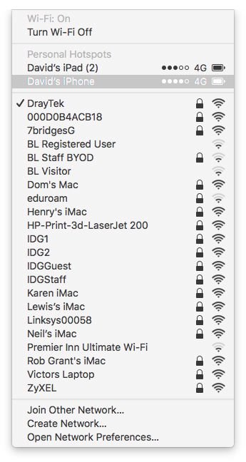 How to turn your iPhone into a Wi-Fi hotspot: macOS menu bar