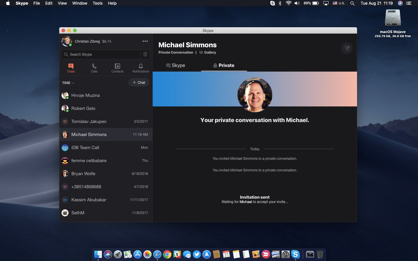 howto skype encryption Mac chat window
