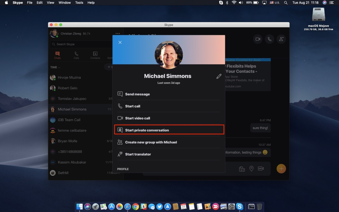 howto skype encryption Mac person profile