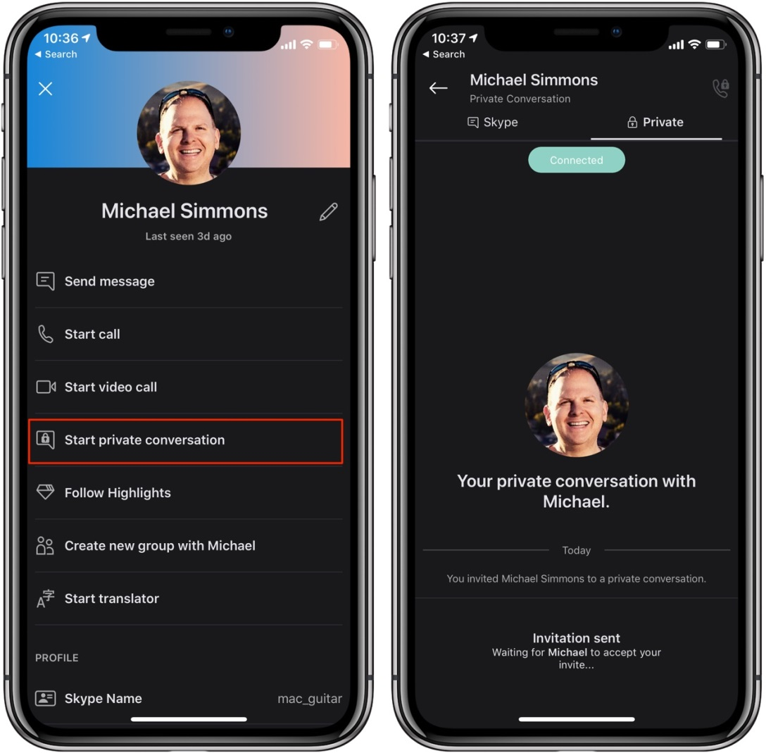howto skype encryption start private conversation in iPhone app