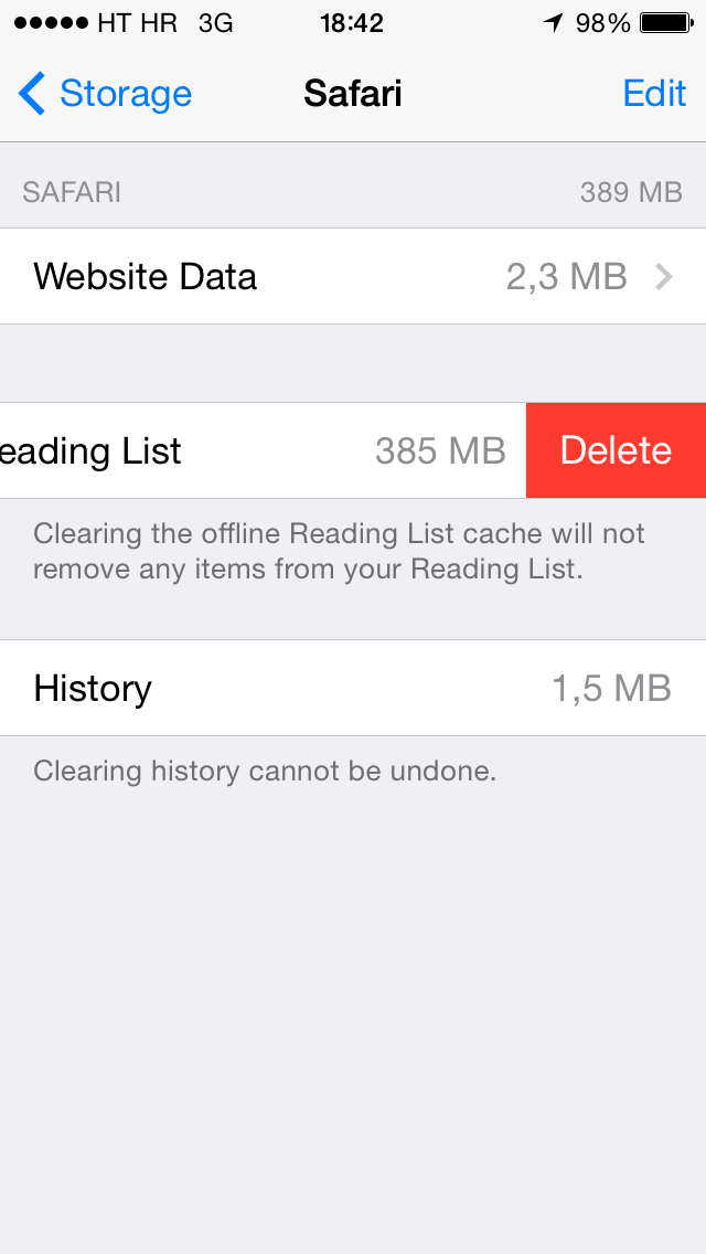 iOS 7 (Safari, Offline Reading List, Delete 001)