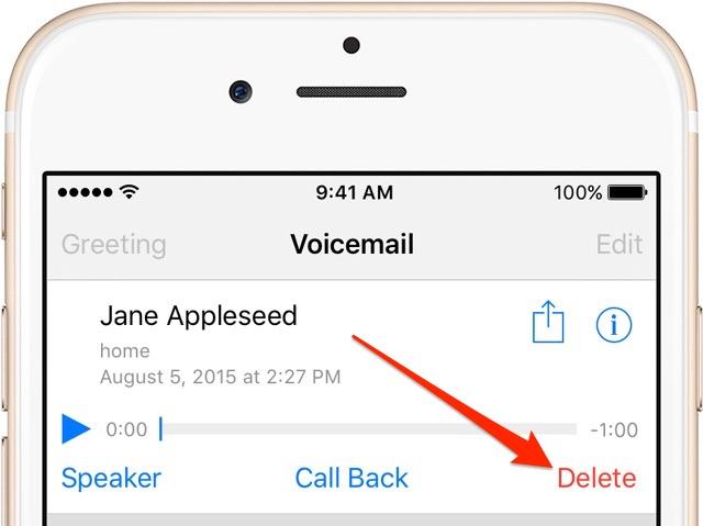 iOS 9 Delete Voicemail iPhone screenshot 001