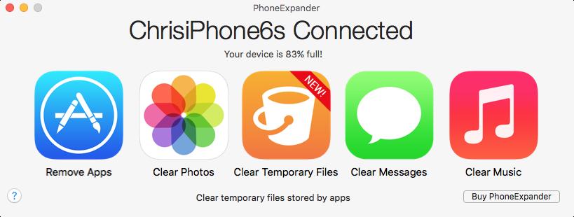 PhoneExpander Clear Temporary Files Mac screenshot 001