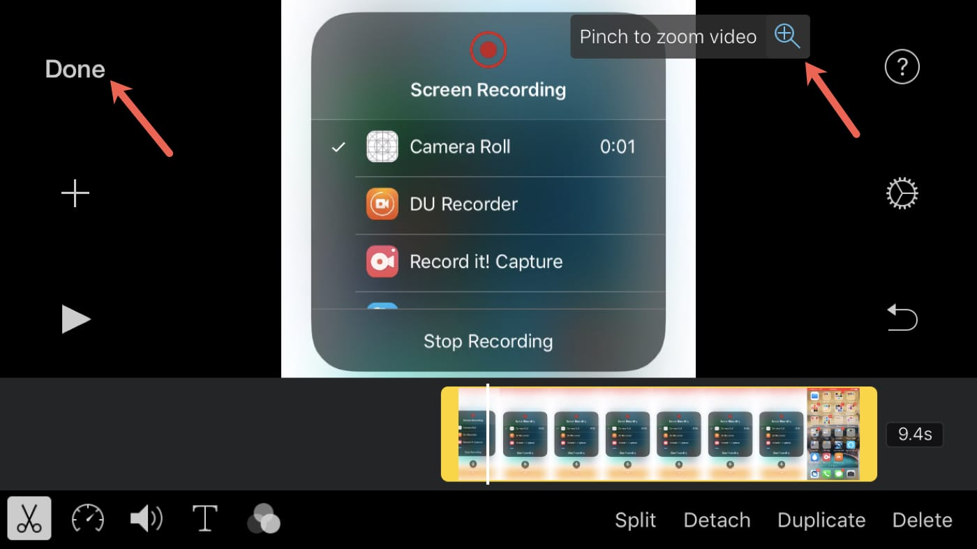 Pinch to Zoom iMovie Video iPhone