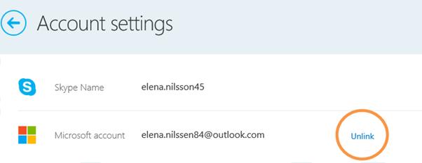 Unlink Skype account
