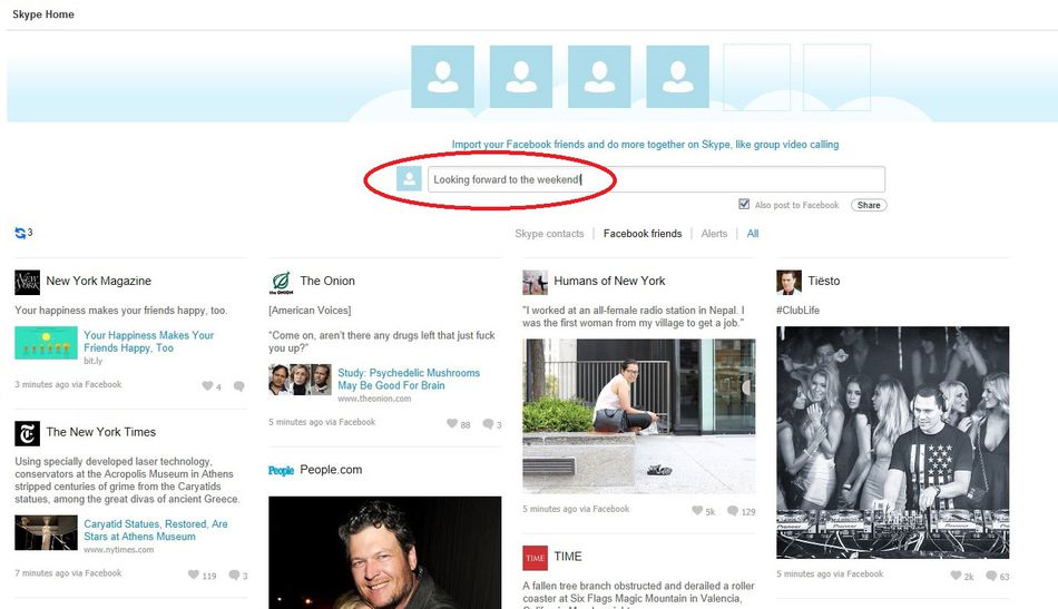 A screenshot of a Facebook News Feed in Skype. You can share, like, comment and view updates from your Facebook friends and pages you follow. To post a status, type in the blank text field that is circled in red above.