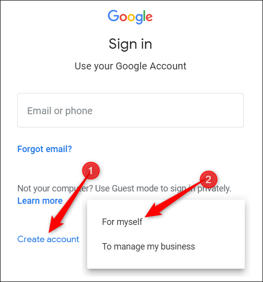 Click Create Account, then click For Myself