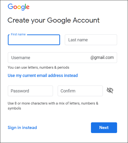 Enter your personal information into the form provided