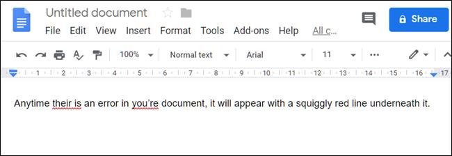 Example of poor spelling and grammar in Docs