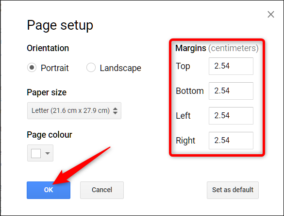 From the Page Setup menu, choose the margin's white space size, then click OK