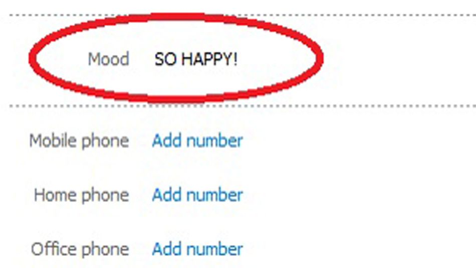 """You can add a short message about how you feel or what you're thinking in the """"Add a mood message"""" field."""