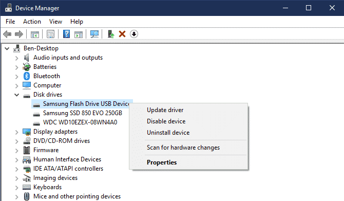 Open Device manager and select the external drive