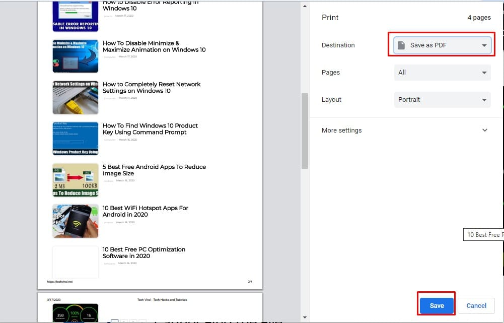 Select 'Save as PDF' on the 'Destination'