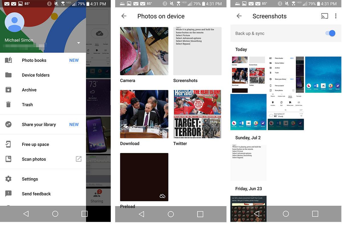 back up screenshots