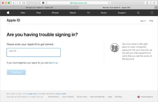 Apple iForgot website asking for Apple ID username