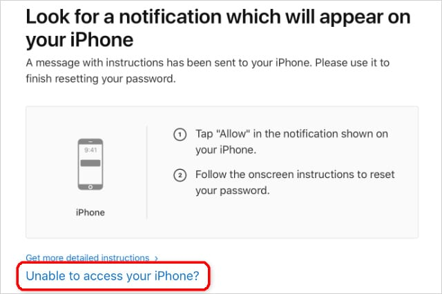 Unable to access your iPhone button on iForgot webste