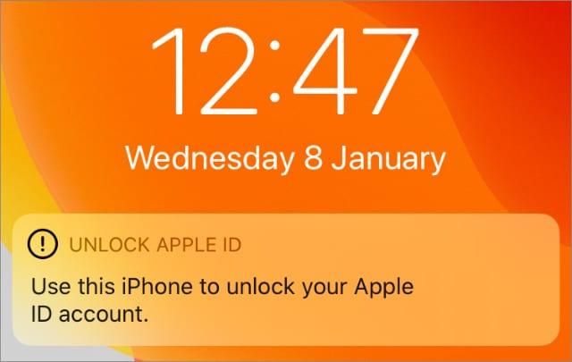 Unlock Apple ID notification on iPhone