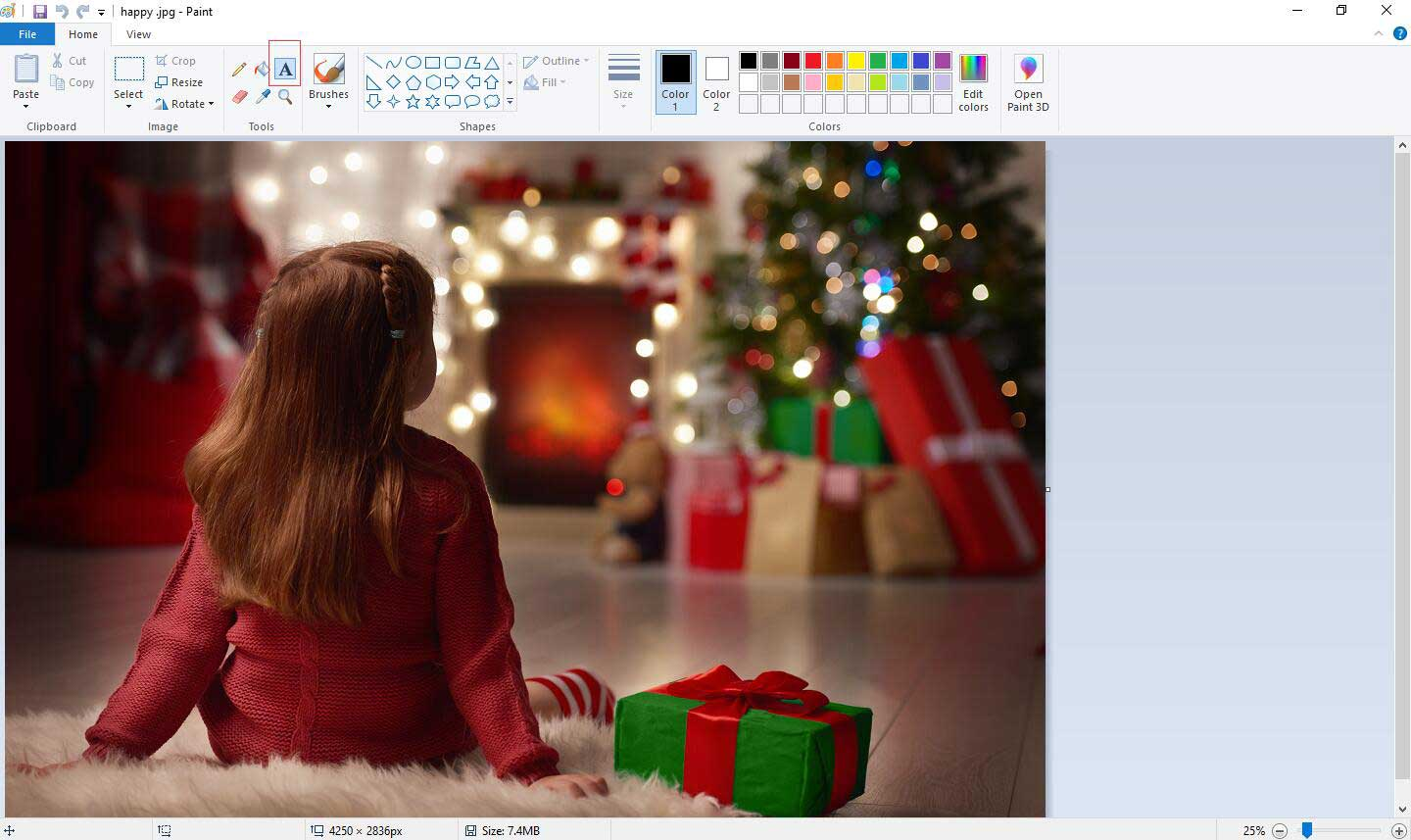 add text to photo with Paint