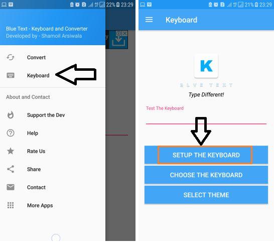 Blue Text KEyboard send WhatsApp message in blue colour