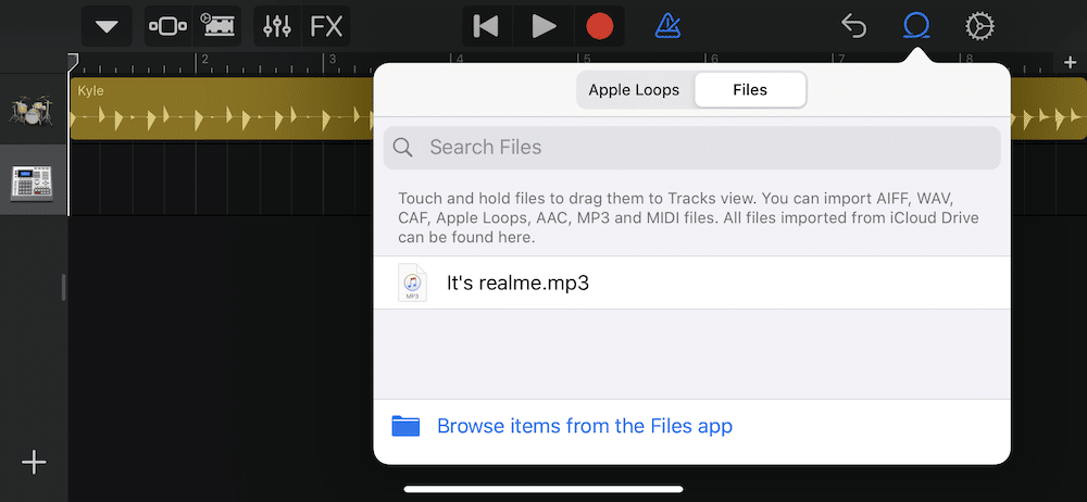 Drag and drop to add song to Garageband