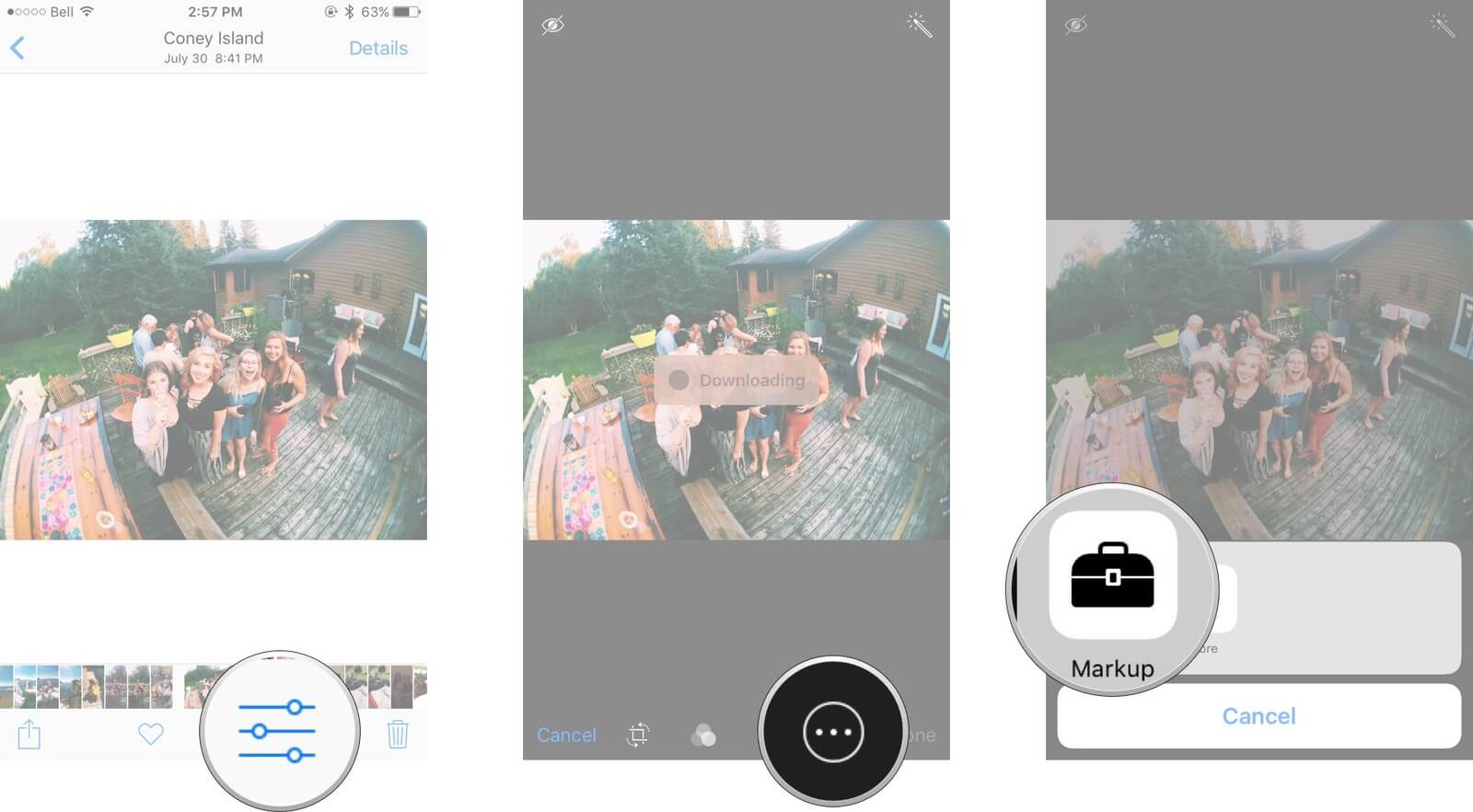 find the Markup option on your iPhone to add text to photo