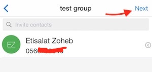 Invite a contact searching name