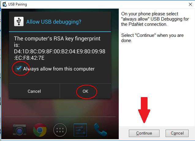 PdaNet USB continue