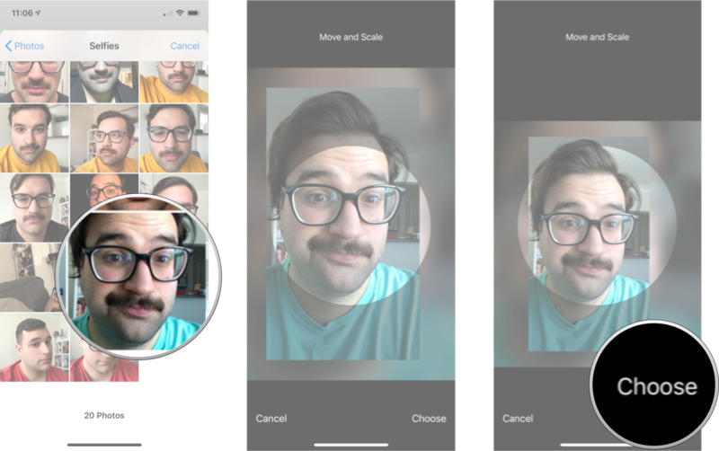 Tap the photo you want, move the photos around to find the crop you want, and then tap choose.