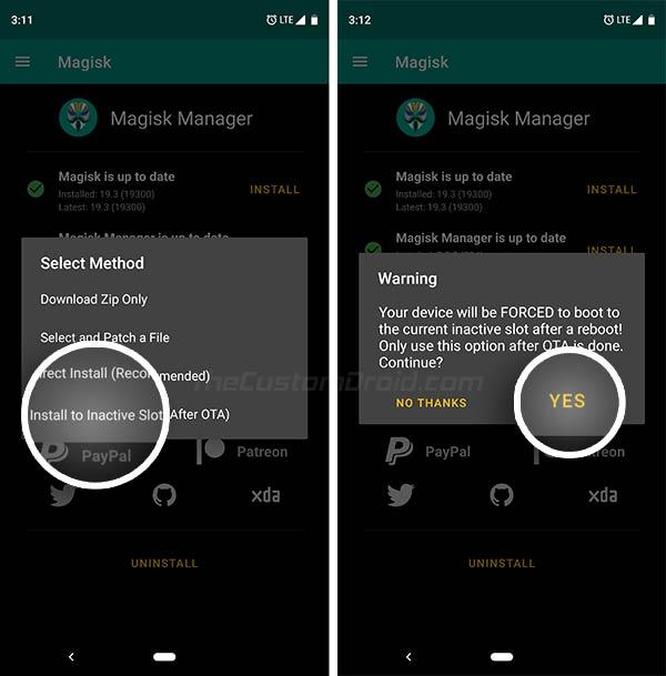 قم بتثبيت Magisk على Inactive Slot في Magisk Manager