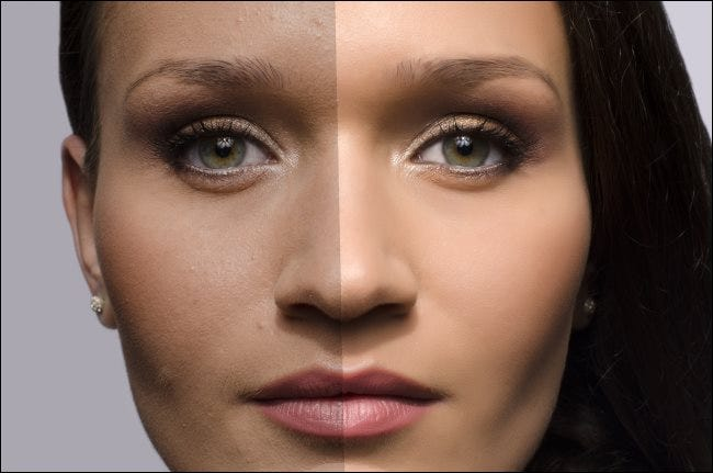 A comparison of a woman's photo with and without airbrushing.