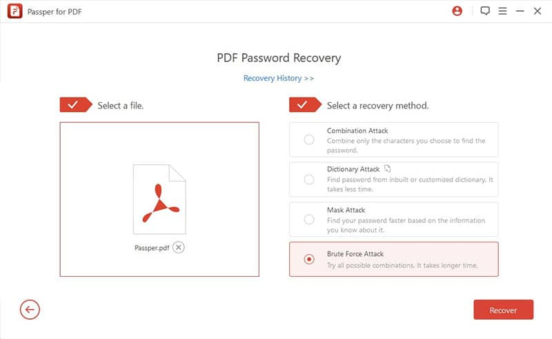 choose Brute Force Attack to hack pdf password