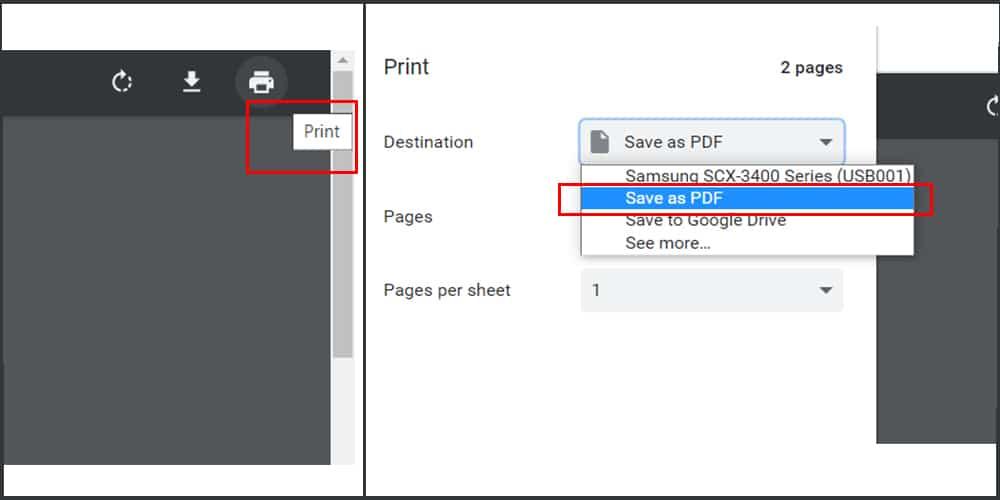 "click ""Save as PDF"" option to hack PDF password"