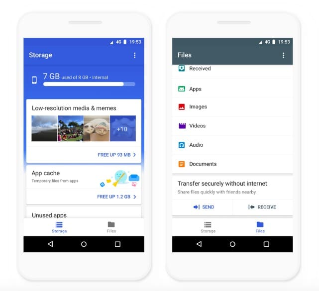 Files by Google Cleaner app Android