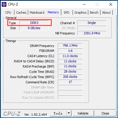 CPU-Z to check RAM type