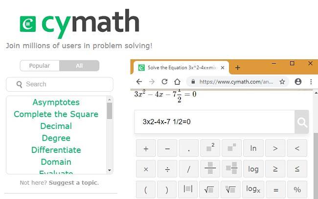 Cymath solve quadratic equation step 1