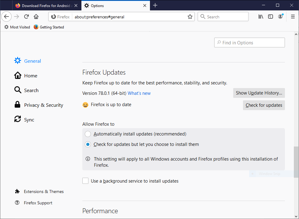 Firefox Updates Section