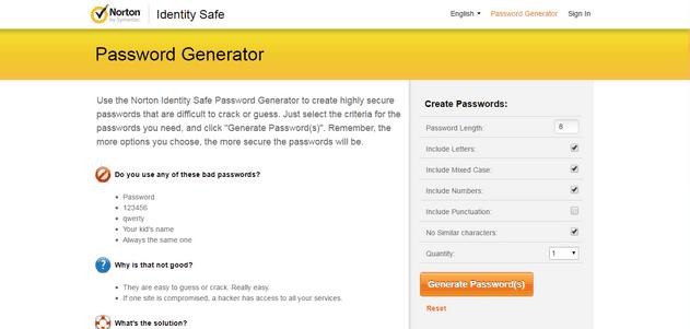 Norton Identity Safe Password Generator