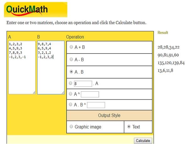 QuickMath matrix equation solved