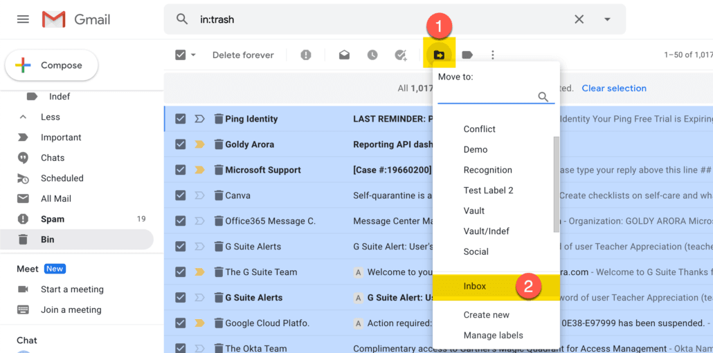 56. Click move to, and then inbox to restore all deleted gmail emails