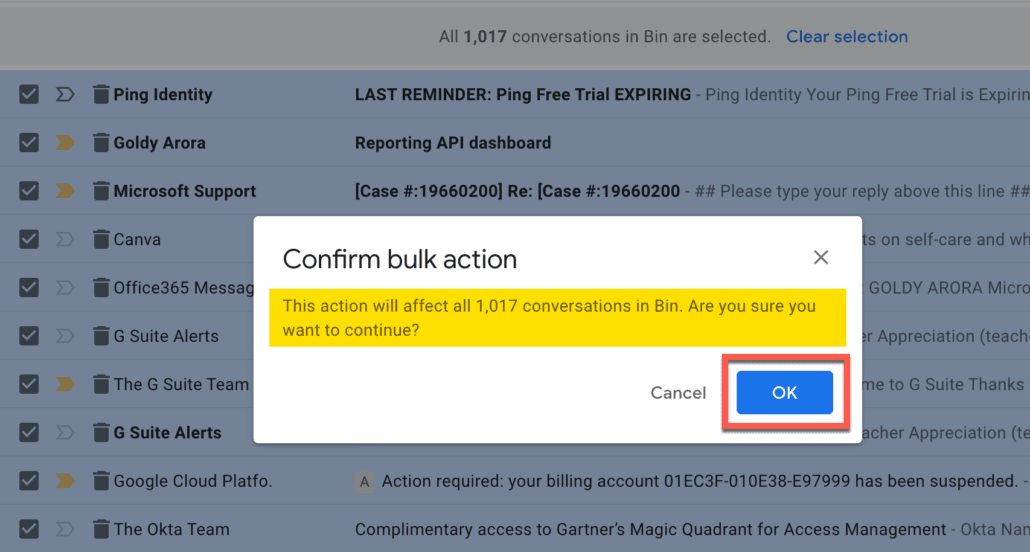 57. Confirm that you want to restore all deleted Gmail emails to inbox