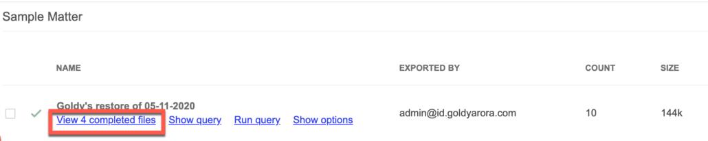 75. Click on export files in Google Vault